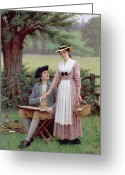 Edmund Blair (1853-1922) Greeting Cards - The Lord of Burleigh Greeting Card by Edmund Blair Leighton