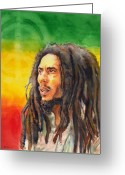 Reggae Greeting Cards - The Lord Of Peace Bob Marley Greeting Card by Brian Child