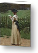 The Love Letter Greeting Cards - The Love Letter Greeting Card by Edmund Blair Leighton