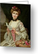 Billet Doux; Female; Seated; Sitting; Roses; Fan; Black Bow; Wistful; Pretty; Costume; Dress; Beauty; Jewellery; Jewelry; In Love; Valentine; Beauty Greeting Cards - The Love Letter Greeting Card by Francois Martin-Kayel