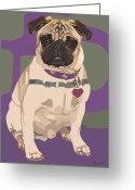Tag Art Greeting Cards - The Love Pug Greeting Card by Kris Hackleman