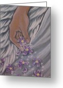 Sympathy Painting Greeting Cards - The love we leave behind Greeting Card by Radha Flora Cloud