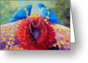 Chiles Pastels Greeting Cards - The Lovebirds Greeting Card by Candy Mayer
