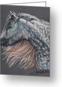 Animal Portrait Pastels Greeting Cards - The Lovely Dapples Greeting Card by Terry Kirkland Cook