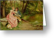 Clandestine Greeting Cards - The Lovers Greeting Card by Joseph Frederick Charles Soulacroix