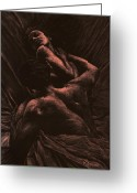 Nude Fine Art;  Figure Art Greeting Cards - The Lovers Greeting Card by Richard Young