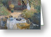 Jardin Painting Greeting Cards - The Luncheon Greeting Card by Claude Monet