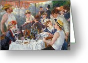 Oil Canvas Greeting Cards - The Luncheon of the Boating Party Greeting Card by Pierre Auguste Renoir