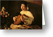 Drapery Greeting Cards - The Lute Player Greeting Card by Michelangelo Merisi da Caravaggio