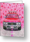 Pickup Painting Greeting Cards - The Luv Machine Greeting Card by Catherine G McElroy