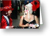 Mad Hatter Digital Art Greeting Cards - The Mad Hatter and The Red Queen Greeting Card by Heather Lennox