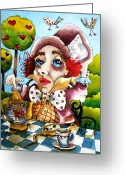 Bird Cards Greeting Cards - The Mad Hatter Greeting Card by Lucia Stewart