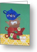 Tea Party Greeting Cards - The Mad Hatter Tea Party Present Day  Greeting Card by J D  Fields