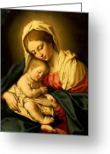 Baby Jesus Greeting Cards - The Madonna and Child Greeting Card by Il Sassoferrato