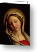 Faith Greeting Cards - The Madonna Greeting Card by Il Sassoferrato
