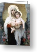 Jesus Painting Greeting Cards - The Madonna of the Roses Greeting Card by Stefan Kuhn