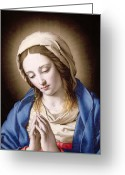Virgin Maria Greeting Cards - The Madonna Praying Greeting Card by Il Sassoferrato