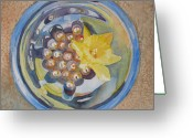 Abstract Realism Painting Greeting Cards - The Magic Bowl II Greeting Card by Jenny Armitage