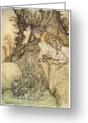 Chalice Greeting Cards - The Magic Cup Greeting Card by Arthur Rackman