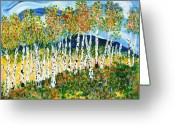 Most Mixed Media Greeting Cards - The Magical Aspen Forest Greeting Card by Christy Woodland