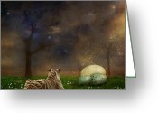 Surrealist Digital Art Greeting Cards - The magical of life Greeting Card by Martine Roch