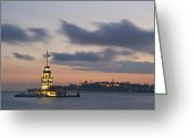 Byzantine Photo Greeting Cards - The Maidens Tower  Greeting Card by Ayhan Altun
