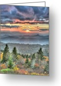 Cowee Greeting Cards - The Majestic Blue Ridge Greeting Card by Mary Anne Baker
