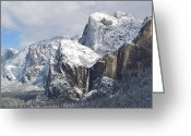 Granite Walls Greeting Cards - The Majesty of Yosemite Greeting Card by Terry Joyce