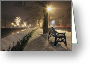 Misty Prints Prints Greeting Cards - The mall at Westport Greeting Card by Paul  Mealey