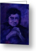 Music Legends Greeting Cards - The Man In Black In Blue Greeting Card by Chuck Creasy