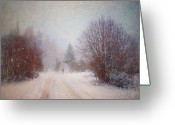Winter Storm Photo Greeting Cards - The Man in the Snowstorm Greeting Card by Tara Turner
