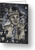 Civil Rights Greeting Cards - The Man Greeting Card by Larry Poncho Brown