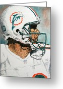 Miami Dolphins Greeting Cards - The Man Greeting Card by Maria Arango