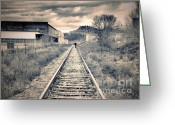 Graffiti Greeting Cards - The Man on the Tracks Greeting Card by Tara Turner