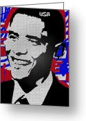 President Obama Greeting Cards - The Man Who Killed Osama  Greeting Card by Robert Margetts