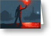 Snow Digital Art Greeting Cards - The man with the flare Greeting Card by Pixel  Chimp