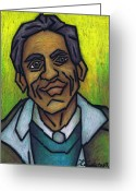 Person Pastels Greeting Cards - The Man With The Golden Voice Greeting Card by Kamil Swiatek