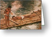 Caribbean Art Pastels Greeting Cards - The Mango Eaters Greeting Card by John Clark