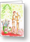 Vertical Painting Greeting Cards - The-mannequins-Christmas Greeting Card by Carlos G Groppa