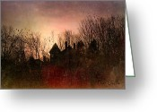 Spooky Moon Greeting Cards - The Mansion Is Warm At The Top Of the Hill Greeting Card by Bob Orsillo