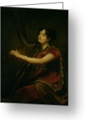 1823 Greeting Cards - The Marchioness of Northampton Playing a Harp Greeting Card by Sir Henry Raeburn