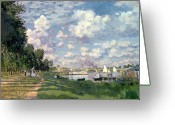 Argenteuil Greeting Cards - The Marina at Argenteuil Greeting Card by Claude Monet