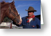 Denim Jacket Greeting Cards - The Marlboro Man in Ocala Florida Greeting Card by Carl Purcell