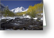 Point Of View Greeting Cards - The Maroon Bells In Autumn Greeting Card by Robbie George