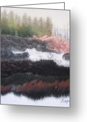 Early Pastels Greeting Cards - The Marsh of Changing Color Greeting Card by Harvey Rogosin