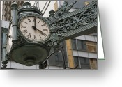 Decoration And Ornament Greeting Cards - The Marshall Field Clock On The Corner Greeting Card by Paul Damien