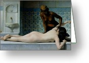 Nude Bath Greeting Cards - The Massage Greeting Card by Edouard Debat-Ponsan