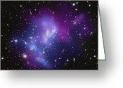 Star Clusters Greeting Cards - The Massive Galaxy Cluster Macs J0717 Greeting Card by Stocktrek Images