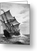 Mayflower Greeting Cards - The Mayflower Greeting Card by Granger