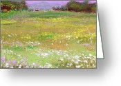 Landscapes Pastels Greeting Cards - The Meadow Greeting Card by David Patterson